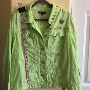 Relativity 2X Cotton/Linen Bejewel Jacket